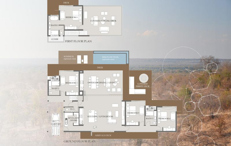 Plan of 4 bedroomed villa - click on the image to see full view